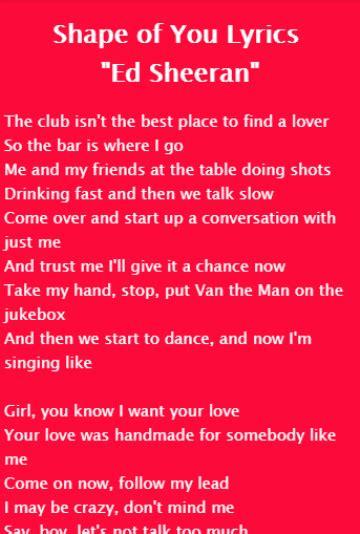 ed sheeran shape of you lyrics shape of you lyrics ed sheeran 1 0 apk download android