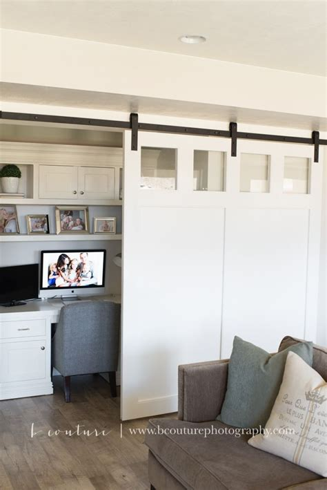 desk built into closet sliding barn door and desk nook built in white desk and