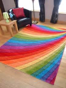 Floor Mats Rugs Modern Thick Dense Pile Bright Coloured Rainbow Floor Mat