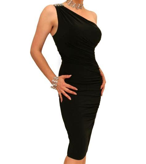black figure hugging diamante dress