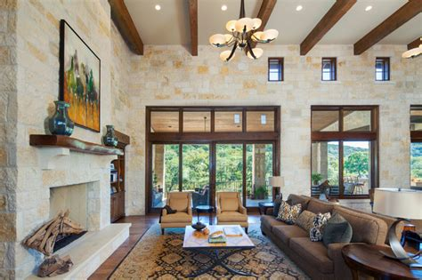 hill country custom home rustic living room