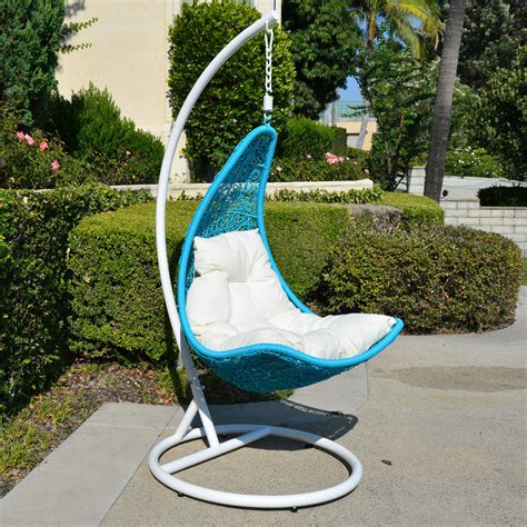 wicker swing white turquoise egg shape wicker rattan swing lounge chair