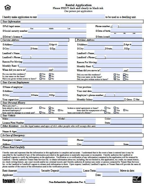Rental Application Template Real Estate Forms Rental Property Application Template