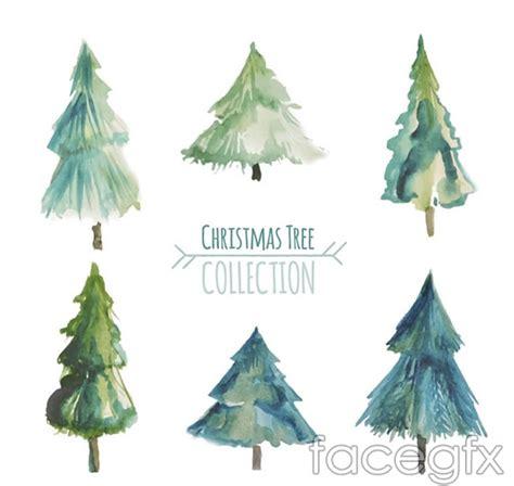 watercolor christmas tree vector free download