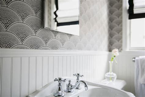 black and white wallpaper for bathrooms fan shaped wallpaper design ideas