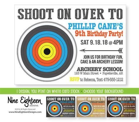printable invitations target archery theme birthday party invitation i d e s i g n