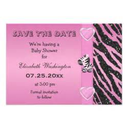 zebra printed bow baby shower save the date 9 cm x 13 cm invitation card zazzle