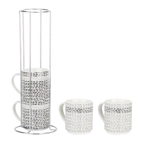 stacking monochrome mugs with chrome rack