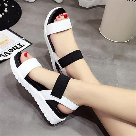 Sandal Selop Wedges Wanita Ds02 Keren designer sandals simple design open toe elastic band patchwork platform sandals for