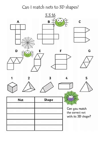 Www Homeschoolmath Net Worksheets by Match Nets 3d Shapes By Slayer2k5 Teaching Resources Tes