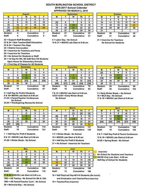 School District Calendar 2016 Calendars District Calendar For 2016 2017