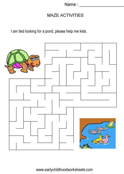 printable turtle maze turtle to pond maze kids activity visual skills hand