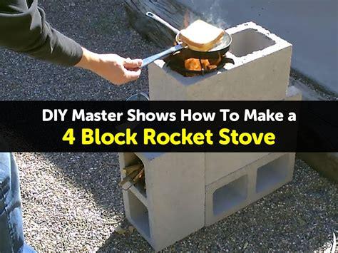 backyard rocket stove diy master shows how to make a 4 block rocket stove