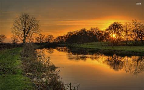 orange sunset pond trees grass wallpapers orange sunset