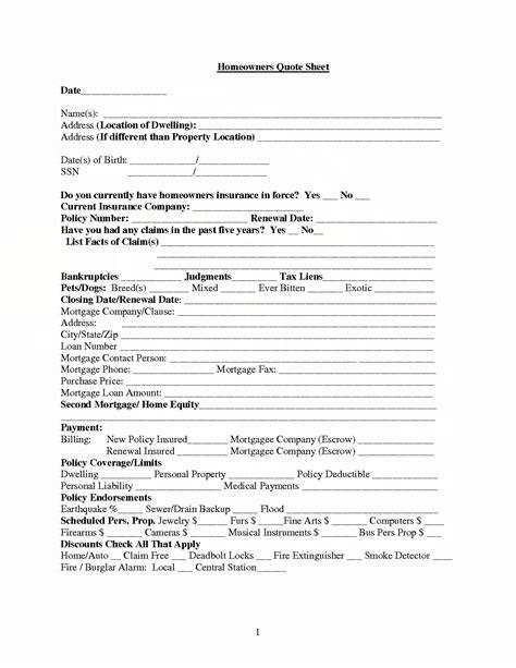 Home Insurance Quotes Templates Quotesgram Homeowners Insurance Quote Sheet Template