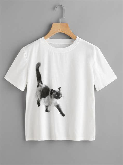 Cat Print Sleeve Shirt casual cat printed sleeve t shirt