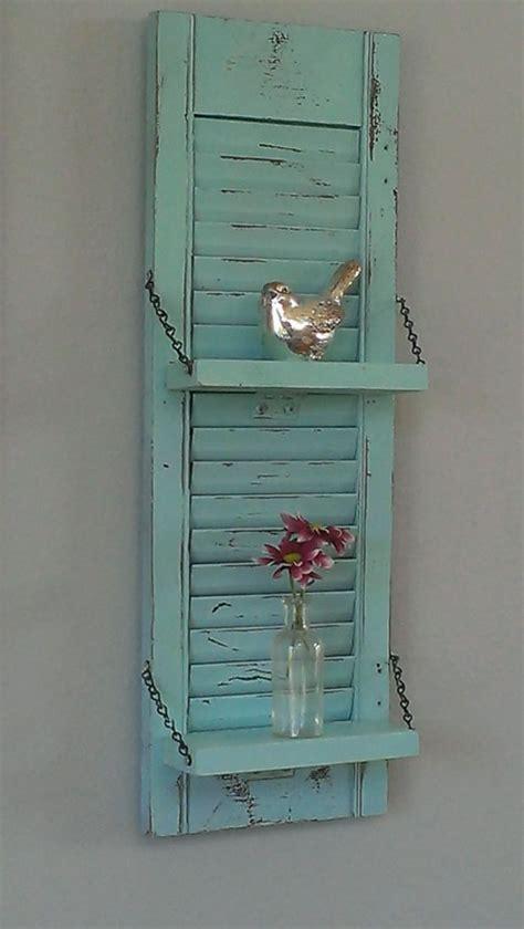 wall shutter decor rustic shelf shabby chic aqua robins egg blue unique