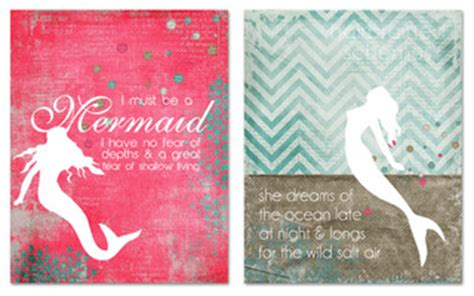 Wanddeko Garten 2760 inspirational mermaid prints maritim kinderzimmer