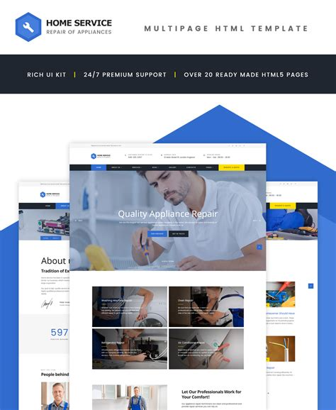 Home Repairs Website Template Home Appliances Website Template Free