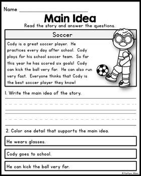free printable main idea worksheets for first grade free main idea practice pages for beginners by kaitlynn