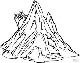 the mountain and a lonely naked tree coloring page free