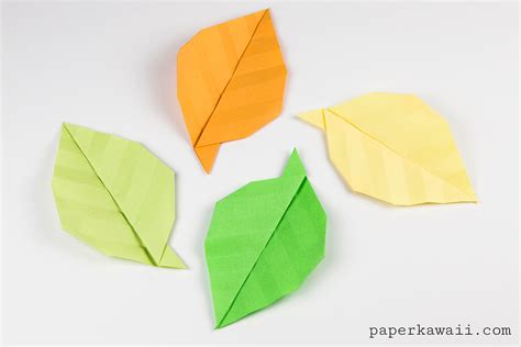 origami easy simple origami leaf tutorial paper