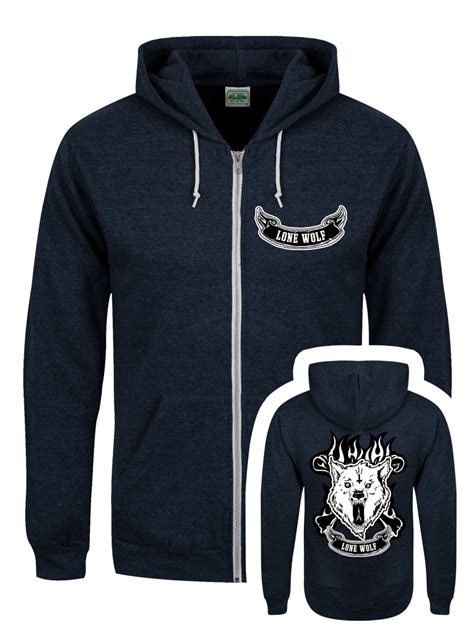 Hoodie Sweater Zipper Paramore K21 lone wolf navy zipped hoodie s 36 38 quot clearance sale ebay