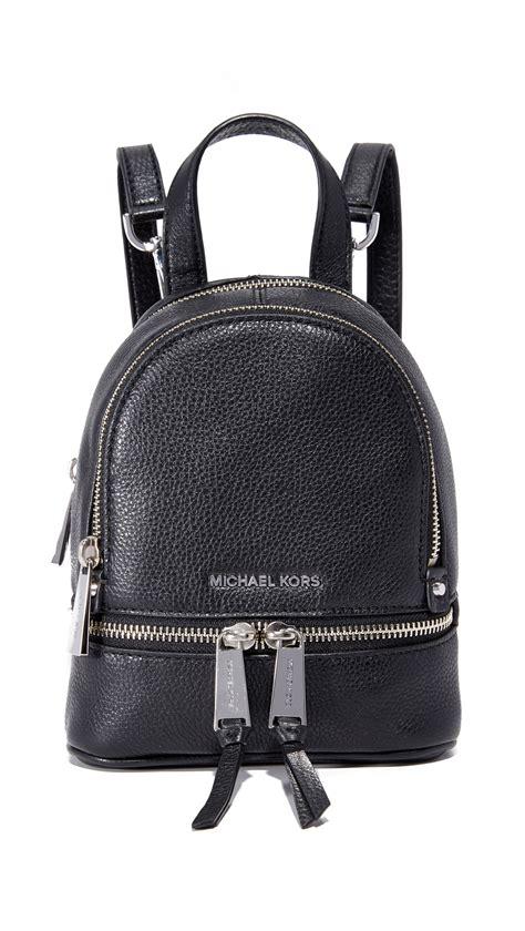 Michael Kors Rhea Backpack Mini 2 michael michael kors rhea mini backpack in black lyst