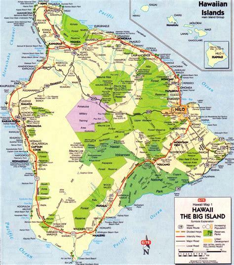 printable road map of hawaii big island map map of big island hawaii pinterest