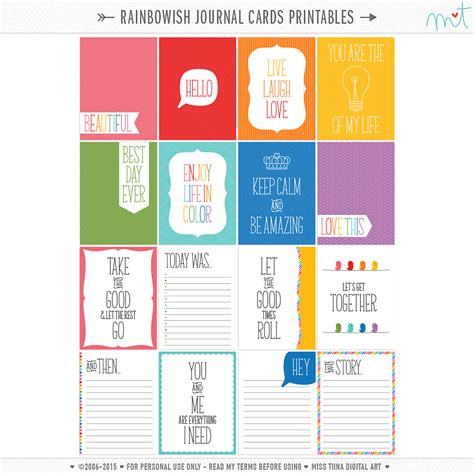 Printable Weekly Planner Cards | free journal card printables