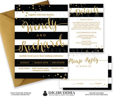 BLACK & WHITE WEDDING Invitation Gold Glitter Confetti 3 Pc Suite RSvP Enclosure Card Stripe