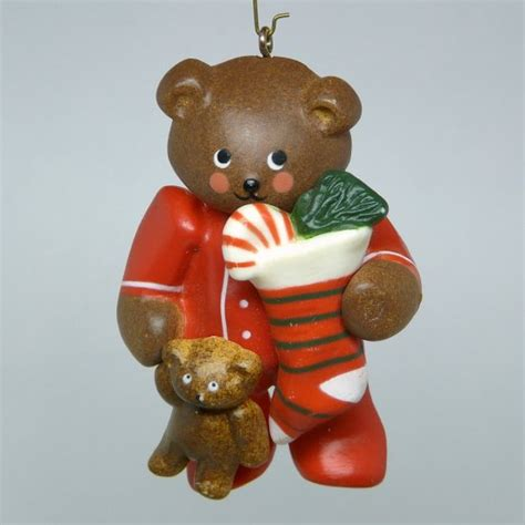 russ ornaments russ ornament teddy in pjs pajamas holding