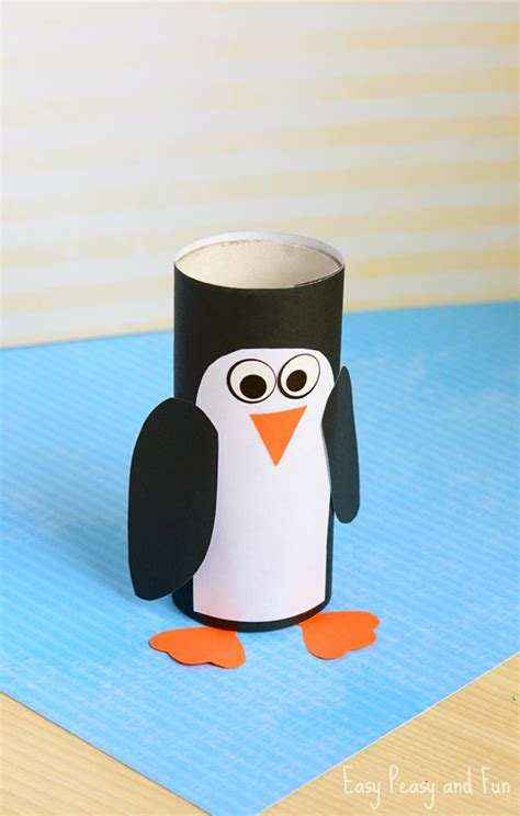 Penguin Paper Craft - paper roll penguin craft winter crafts for easy