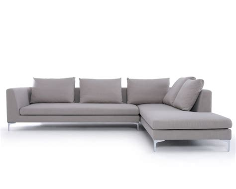 modern grey fabric corner sofa baci living room