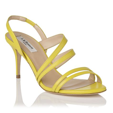 yellow strappy sandals l k addie single sole mid heel strappy sandals in