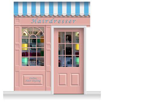 Shop Front Door 2 Drop Stamford Shop Front Hairdresser Mural 280cm Door Print