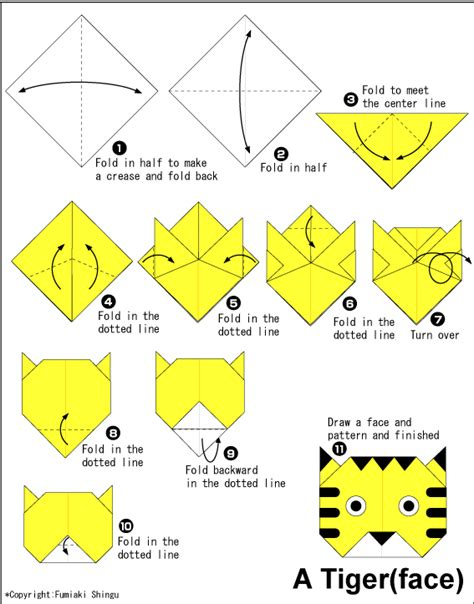 Toddler Origami - easy origami for tiger arts crafts