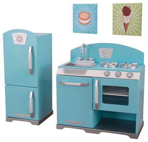 Childrens Retro Wooden Kitchen by Kidkraft Pretend Play Blue Retro Kitchen