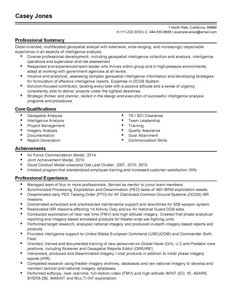 Imagery Analyst Sle Resume by Professional Geospatial Analyst Templates To Showcase Your Talent Myperfectresume