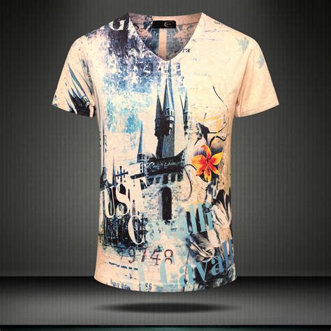 3d printing t shirt new summer vintage mens v collar shirt mens personality tide t shirt fashion