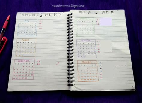 Calendar Journal My Indian Version Bullet Journal Yearly Calendar And