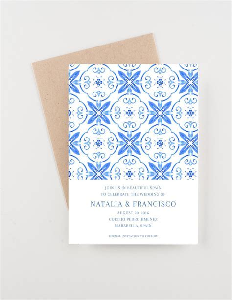 Spanish Tile Save The Date, Destination India, Bridal