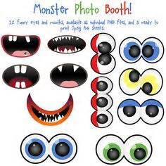 free printable monster photo booth props not so scary monster party ideas for halloween hallowen