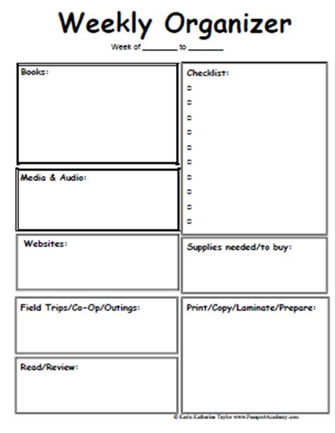 printable weekly lesson plan pages 9 best images of free printable planner organizer