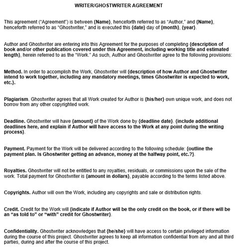 Agreement Of Services Template writer ghostwriter agreement template