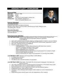 Curriculum Vitae Philippines Sle Of Resume Format In The Philippines Resume Template Exle