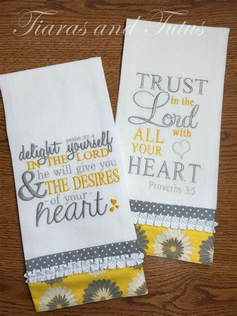 embroidery gifts kitchen towel set embroidered with bible verses gray and
