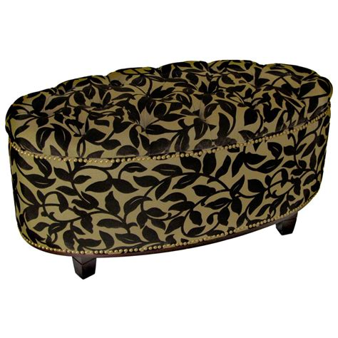 Ora Oval Storage Ottoman Brown Flock Tufted Brass