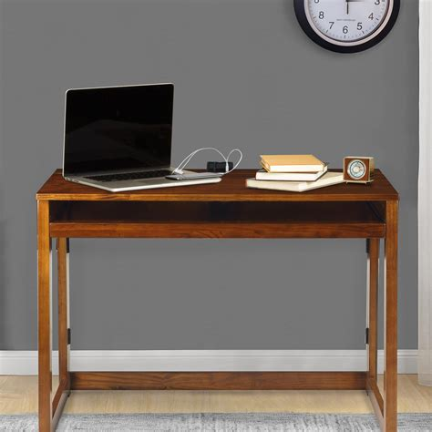 desk with usb port folding desk with pull out tray and usb port warm brown