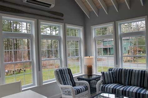 Sunroom with Exposed Rafter Ceiling, Andersen Windows in